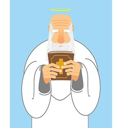 God and Bible Old man with beard holds Holy Bible vector image