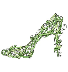 Green nature woman shoe vector image