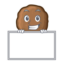 Grinning with board meatball character cartoon vector
