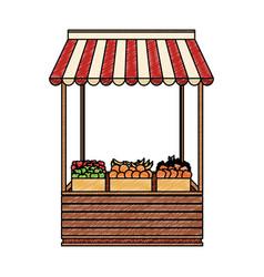 Groceries wooden stand scribble vector