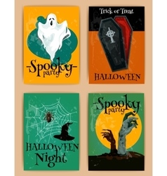 Grungy Halloween invitations in retro style vector image