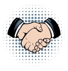 Handshake comics icon vector image