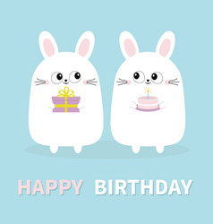 happy birthday white bunny rabbit holding gift vector image