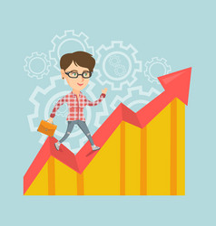 happy business manager standing on profit chart vector image