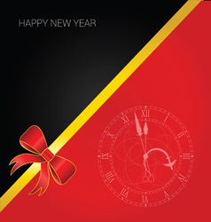 happy new year with bow and clock vector image