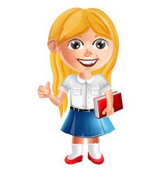 happy school little girl cartoon character vector image