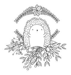 Hedgehog cartoon in autumn season design vector