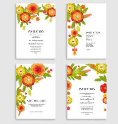 Holiday floral invitations set vector