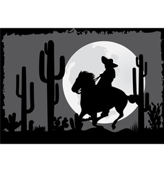 Horseman rides in desert vector