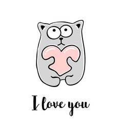 i love you hand drawn greeting card vector image