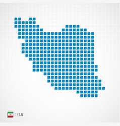 iran map and flag icon vector image