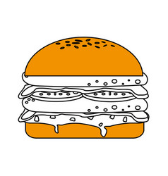 Isolated fast food hamburger icon vector