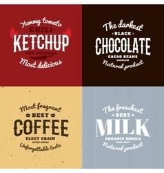 Isolated ketchupchocolatecoffeemilk logo vector