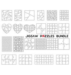 jigsaw puzzles bundle simple line art style vector image