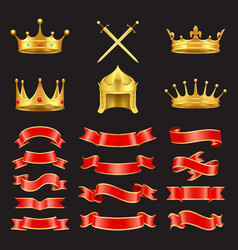 king and knight golden authority symbol treasures vector image