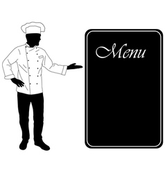 kitchen chef offers dinning menu vector image