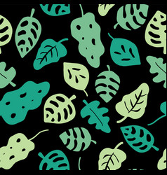 leaves seamless pattern green on a black vector image