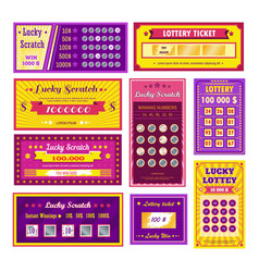 Lottery tickets lucky scratch bingo gambling and vector