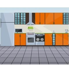 Modern orange kitchen interior vector image