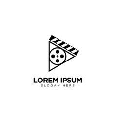 Movie play logo design multimedia logo template vector