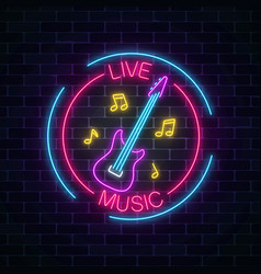 neon sign of bar with live music on a brick wall vector image