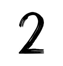 number 2 painted by brush vector image