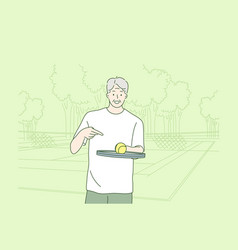 old man playing tennis concept vector image