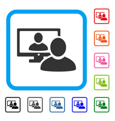 Online video chat framed icon vector