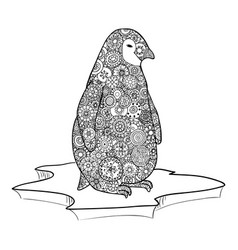 Penguin stands on an ice floe zen tangle vector