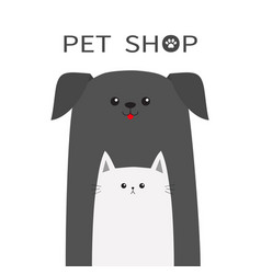 Pet shop icon dog cat animal red tongue happy vector
