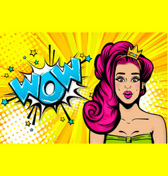 Pink hair princess girl pop art wow face vector