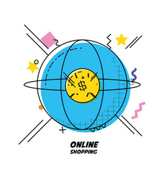 Planet and coin shopping online concept vector
