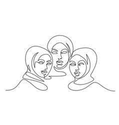 portrait three pretty muslim women one line vector image