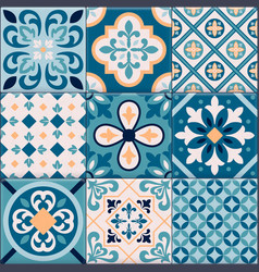 Realistic ceramic floor tiles ornaments icon set vector