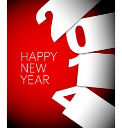 Red and white Happy New Year 2014 card vector
