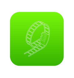 Rollercoaster icon green vector