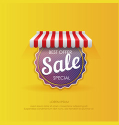 round sticker with sale best offer vector image