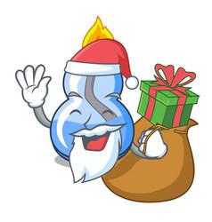 Santa with gift alcohol burner mascot cartoon vector