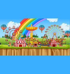 scene with many rides in funpark vector image