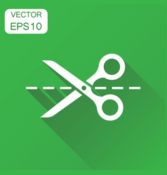 Scissors with cut line icon business concept vector
