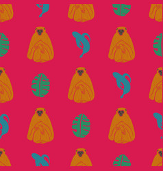 seamless pattern with monkey banana and leaf vector image