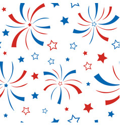Seamless pattern with stars and firework american vector