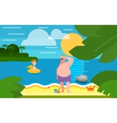 Seascape with Father and Little Son vector image