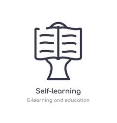 Self-learning outline icon isolated line from vector