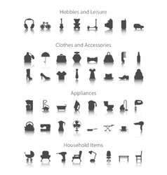 Set icons fo hobbies leisure household clothes vector