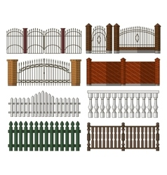 Set of gates and fences vector
