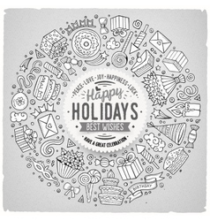 Set of Holidays cartoon doodle objects vector