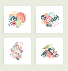 Set of square cards hand drawn abstract vector
