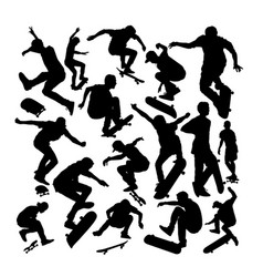 set silhouettes skateboarders vector image