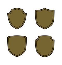 Shield shape bronze icons set simple silhouette vector